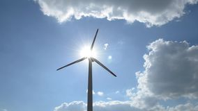 Windgenerator with sun rays stock video