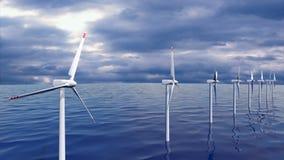 Windgeneratorbauernhof in der nahtlosen Schleife des Ozeans stock video footage