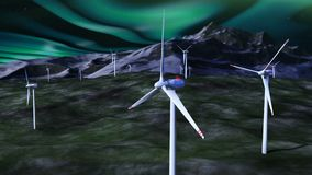 Windgeneratoren gegen nächtlichen Himmel mit borealis stock video footage