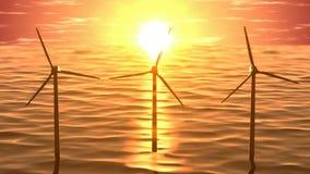 Windgeneratoren im Ozean auf nahtloser Schleife des Sonnenuntergangs stock footage