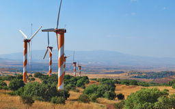 Windgenerators in Golan Heights Israel Stock Afbeeldingen
