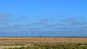 Windgenerators langs de weg Windmolens bij zonsopgang De Macht van de wind Wolkenloze hemel Schone aard, schone elektriciteit Stock Foto