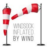 Windgeschwindigkeits-Flaggen-Vektor Aufgeblasen durch Wind auf einem Polen lokalisierte Illustration des Wetter-3D Windsock vektor abbildung