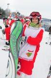WINDHAM 19-ое декабря - катание на лыжах и катание Santas для призрения на горе Windham Стоковое фото RF