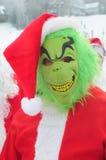 WINDHAM 12月19日-滑雪和骑马慈善的圣诞老人在Windham山。 库存照片