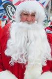 WINDHAM 12月19日-滑雪和骑马慈善的圣诞老人在Windham山。 免版税库存图片