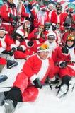 WINDHAM 12月19日-滑雪和骑马慈善的圣诞老人在Windham山 库存照片