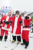 WINDHAM 19 de diciembre - esquí y montar a caballo Santas para la caridad en Windham Mountain Fotos de archivo