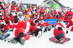 WINDHAM DECEMBER 19 - Skiing and Riding Santas for charity at Windham Mountain Royalty Free Stock Photo
