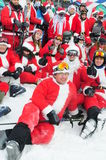 WINDHAM DECEMBER 19 - Skiing and Riding Santas for charity at Windham Mountain Stock Photo