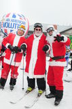 WINDHAM DECEMBER 19 - Skiing and Riding Santas for charity at Windham Mountain Stock Photos