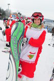 WINDHAM am 19. Dezember - Skifahren und Reiten Sankt für Nächstenliebe bei Windham Mountain Lizenzfreies Stockfoto