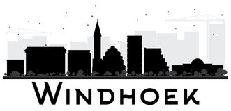Windhoek City skyline black and white silhouette. Stock Photo