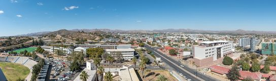 Aerial panorama of the southern parts of Windhoek. WINDHOEK, NAMIBIA - JUNE 17, 2017: An aerial panorama of the southern parts of Windhoek, the capital city of royalty free stock photos