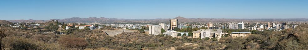 Panorama of the central business district of Windhoek. WINDHOEK, NAMIBIA - JUNE 17, 2017: Panorama of the central business district of Windhoek, the capital city stock photos