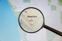 Windhoek, Namibia. Political map. City visualization illustrative concept on display screen through magnifying glass stock images