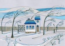 Windiger Wintertag im Dorf Handgezogenes Bild des Hauses und der Bäume im Garten vektor abbildung