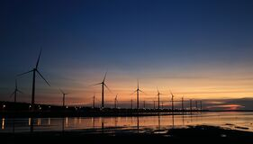 Windills on Shore Royalty Free Stock Image