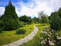 Paved trail at botanical garden in Ploiesti , Romania. Winding alley paved with stone among many species of flowers and trees at the botanical garden in Ploiesti stock images