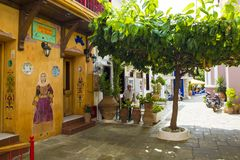 Winding Alleyways And Traditional Houses, Skiathos Town, Greece, August 18, 2017 Stock Photo