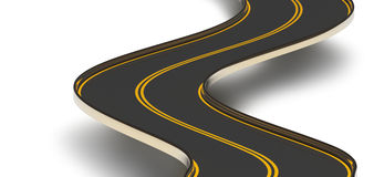 Winding asphalt road with double dividing strip Stock Images