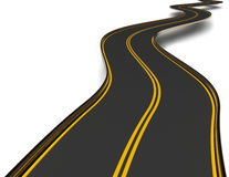 Winding asphalt road with double dividing strip Stock Image