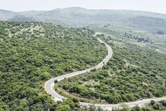 Road on the Golan Heights in Israel. Stock Photo
