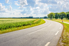 Winding asphalt road through a rural area in the summer season Royalty Free Stock Photography