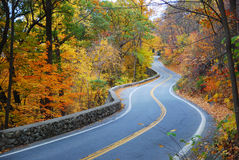 Winding Autumn road with colorful foliage Royalty Free Stock Photo