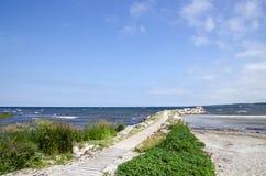 Winding bath bridge. At a sand beach Royalty Free Stock Image