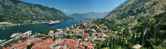 A winding bay of the Adriatic Sea in Montenegro Royalty Free Stock Photos