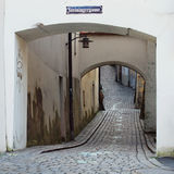 A winding cobbled lane in the old town Stock Image