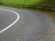 Winding cobbled road. In Lichtenstein Stock Photos