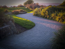 Winding cobblestone path at sunset. The path travels toward the horizon. bushes and grass line the path Royalty Free Stock Photography