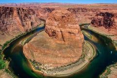 Winding Colorado River in canyon, Horseshoe Bend, Arizona Stock Photo