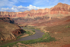 Winding Colorado River through Grand Canyon Stock Images