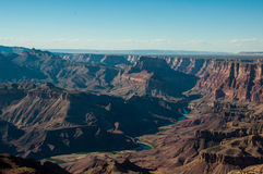 Winding Colorado River in Grand Canyon, from the Desert View watchtower, Arizona Stock Photo