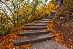 Winding concrete staircase in autumn. royalty free stock photo