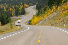 Winding country road. In the elbow river valley, alberta, canada Stock Photos