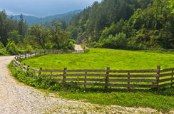 Winding country road with old wooden fence and green meadow Stock Images