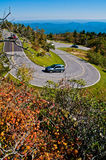 Winding curve at blue ridge parkway. Blue Ridge Parkway Autumn Linn Cove Viaduct Fall Foliage Mountains bridge at Grandfather Mountain Western North Carolina royalty free stock photo