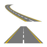 Winding curved road or highway with markings vector illustration
