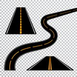 Winding curved road or highway with markings. Direction, transportation set. Vector illustration.  Royalty Free Stock Photo