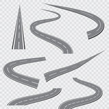 Winding curved road or highway with markings. Vector illustration stock illustration