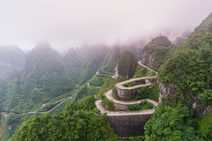 winding and curves road in Tianmen mountain national park, Hunan Royalty Free Stock Photos