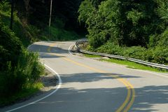 Winding Curvy Road in the Mountains. Winding, curvy road in the mountains near Charleston, WV Royalty Free Stock Images