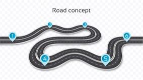 Winding 3D road concept on a transparent background. Timeline te. Mplate. Vector illustration stock illustration