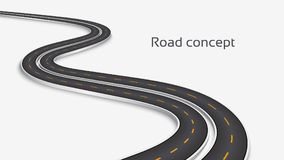 Winding 3D road concept on a white background. Timeline template. Vector illustration stock illustration