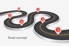 Winding 3d road infographic concept on a white background. Timeline template. Vector illustration stock illustration