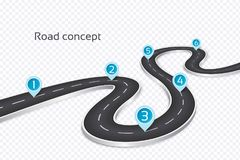 Winding 3d road infographic concept on a white background. Timel stock image
